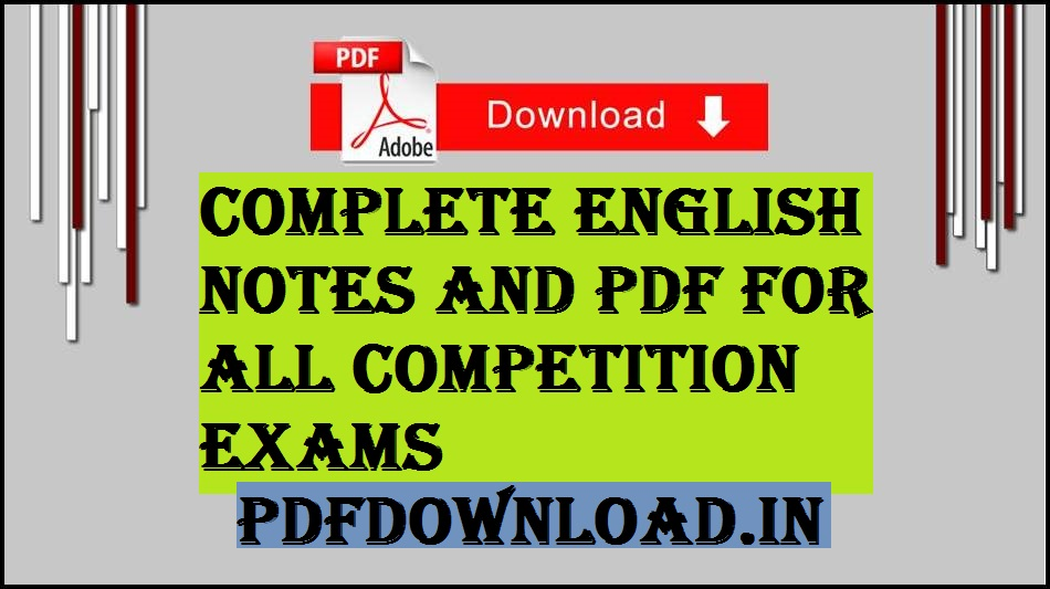 Complete English Notes And PDF For All Competition Exams