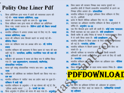 Indian Polity 500 One Liner Question Answer PDF