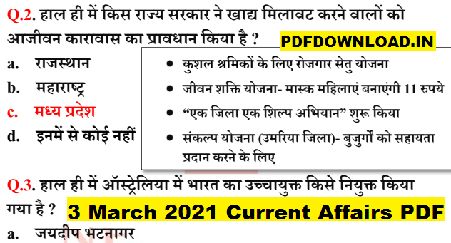 3 March 2021 Current Affairs PDF