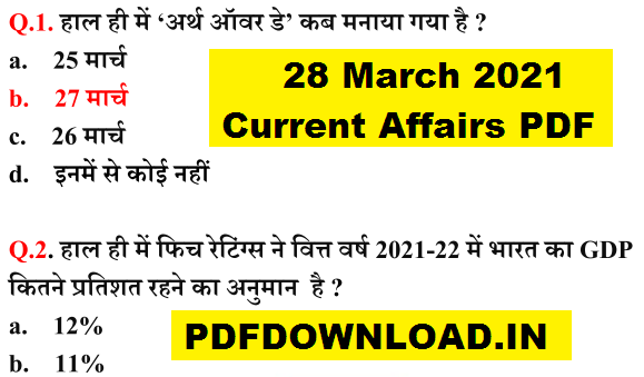 28 March 2021 Current Affairs PDF